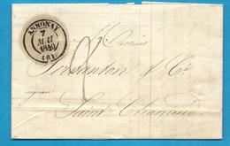 Ardèche - Annonay Pour LyoN. CàD Type 13 + Taxe Tampon 8    // + Taxe 2.  Une Lettre Avec Superbe Entete. - 1801-1848: Precursors XIX