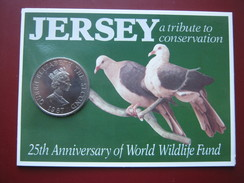 Jersey 1987 Crown £2 Pounds UNC Coin World Wildlife Fund Pigeons Sealed Pack - Jersey