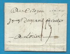 Ardèche - Annonay Pour Lorient (Morbihan). 1793 - Marcophilie (Lettres)