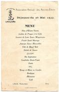 M 35  Menu Du Déjeuner Du 28 Mai 1933 Anciens Elèves Du Cours St Louis à Blois - Menus