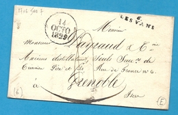 Ardèche - Les Vans Pour Grenoble (Isère). LAC De 1829 - Marcophilie (Lettres)