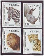 D101225 Venda 1990 South Africa ZEBRA RHINO CHEETAH LION Animals MNH Set - Afrique Du Sud Afrika RSA Sudafrika - Big Cats (cats Of Prey)