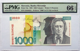 Slovenia 1000 Tolarjev 1993 P18a Graded 66 EPQ Gem Uncirculated By PMG - Eslovenia