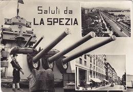 NAVE DA BATTAGLIA E VEDUTINE _ Viaggiata - LA SPEZIA - Guerra