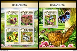 DJIBOUTI 2017 - Butterflies, M/S + S/S. Official Issue - Insects