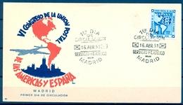 1951 , SOBRE PRIMER DIA , ED. 1091 , VI CONGRESO DE LA UNION POSTAL DE LAS AMÉRICAS Y ESPAÑA - FDC