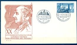 1956 , SOBRE PRIMER DIA , ED. 1199 , XX ANIV. EXALTACION GRAL. FRANCO A LA JEFATURA DEL ESTADO - FDC