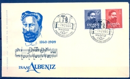 1960 , SOBRE PRIMER DIA , ED. 1320 / 1321 , MÚSICA , ISAAC ALBENIZ - FDC