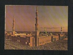 Saudi Arabia Picture Postcard Holy Mosque Medina  Madina  Night Scene View Card