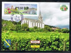 ATM, 0.68€,LISA 2,TIMBRE PASSION, TOUL, CARTE MAXIMUM, 22/10/2016, VIGNOBLE DE BRULEY, L'eglise Et Les Sanctuaires - 2010-... Vignettes Illustrées