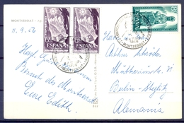 1956 , BARCELONA , MONTSERRAT , MATASELLOS CONMEMORATIVO , ED. 1193 X 2 , 1194 - 1951-60 Cartas