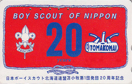 Télécarte Japon / 110-011 - SCOUTISME - SCOUTING  - BOY SCOUT TOMAKOMAI Japan Phonecard - PFADFINDER Telefonkarte - 132 - Advertising