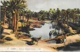 GABES - TUNISIE - CPA COLORISEE - Pont Sur L'Oued à Chenini - VAN - - Tunisia