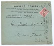 2027 - Lettre Société Générale Charonne Boulevard Voltaire Semeuse Lignée 65 Surcharge 50 Flamme Krag - 1921-1960: Modern Period