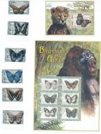 2 Feuillets Et Timbres ** / MNH - Papillon - Zambia - Gorille & Lion - Butterflies