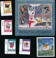2 Feuillets Et Timbres ** / MNH - Papillon - Uganda - Butterflies