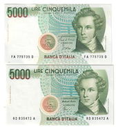 5000 Lire Vincenzo Bellini A 1985 + D 1996 Sup/fds LOTTO 1669 - 5000 Lire