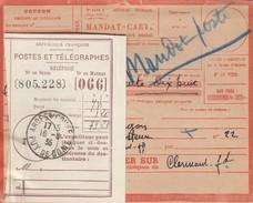 MANDAT-CARTE RECTIFIE MANDAT-POSTE ET RECEPISSE 16.8.1935. ARDES S COUZE PUY DE DOME - Postmark Collection (Covers)