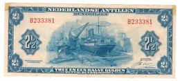 Netherland Antilles  2 1/2 Gulden ,  1964 , Crisp XF!!!! . Rare . Free S & H To USA. - Antillas Neerlandesas (...-1986)