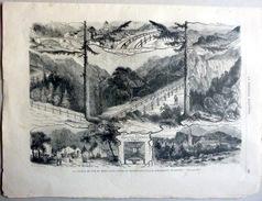 SUISSE  SWISS  MONT CENIS INAUGURATION DU CHEMIN DE FER DU MONT CENIS VERS L'ITALIE GRAVURE SUR BOIS  DE L'EPOQUE 1868 - Autres Collections