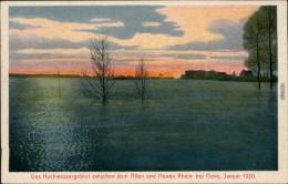 Ansichtskarte Kleve Hochwasser Alter Und Neuer Rhein 1920 - Kleve