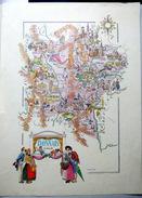 42 LOIRE 69 RHONE  CARTE REPRESENTANT LES PRINCIPALES RICHESSES ET COUTUMES DE LA REGION VERS 1950 - Cartes Géographiques