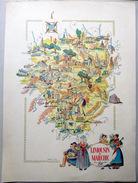 19 CORREZE  87 HAUTE VIENNE 23 CREUSE LIMOUSIN  CARTE REPRESENTANT LES PRINCIPALES RICHESSES ET COUTUMES DE LA REGION - Geographical Maps