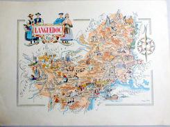 12 AVEYRON  30 GARD 34 HERAULT 11 AUDE  LANGUEDOC CARTE REPRESENTANT LES PRINCIPALES RICHESSES ET COUTUMES DE LA REGION - Geographical Maps