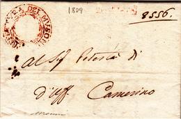 Periodo Napoleonico,Regno D'Italia. Dip. Del Musone. Macerata Per Camerino. Lettera Con Cont. 1809 - 1. ...-1850 Prefilatelia