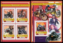 MALDIVES 2017 - Motorcycles. M/S + S/S Official Issue - Motorbikes