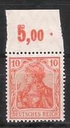 Reich Variété Du N° 120 Neuf ** Michel N° 141 P OR