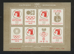 POLAND 1972 BALLOON POST S/S NHM SAPPORO MUNICH OLYMPICS COPERNICUS ASTRONOMER SPACE OLYMPIC GAMES BALLOONS JAPAN