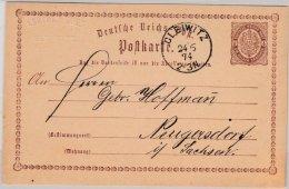 DR - Gleiwitz 1874, K1 A. 1/2 Gr. Brustschild GA-Karte N. Neugersdorf - Stamped Stationery