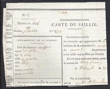FR - CARTE DE SAILLIE - MONTE DE 1828 - Cheval - Jument - Station De Talizat (Cantal) - TB - - Unclassified