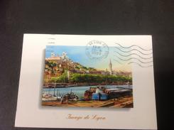 LYON La Saone Et La Colline De Fourviere D'apres Une Aquarelle Originale De Allain Renoux - 2001 Timbrée - Lyon 5