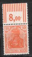 Reich Variété Du N° 120 Neuf ** Michel N° 141 W OR - Unused Stamps