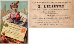 14 CAEN E Lelièvre Fabrique De Porcelaines  14 Rue Guillaume Le Conquérant LOT De 2 Chromos - Caen
