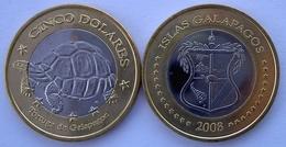 GALAPPAGOS 2008 5 DOLLARI BIMETALLICA TARTARUGA FDC NON UFFICIALE - Monete