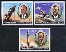 Ajman 1972, Space, Soyuz 11, 3val IMPERFORATED - Adschman