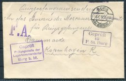 1917 Germany Kriegsgefangenen POW Lager Censor Cover. Burg - Briefe U. Dokumente