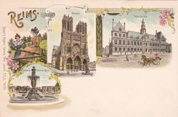 REIMS - Cathédrale - Hôtel De Ville - Fontaine Et Porte De Mars - Reims