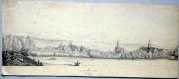 70 LUXEUIL  DESSIN  ORIGINAL 1826  SIGNE  VUE DE LA VILLE AVEC SES MAISONS ET SES CLOCHERS RARE DESSIN XIX° SIECLE - Autres Collections