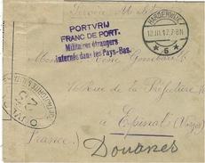 1917- Env. D'un Volontaire Belge Au Camp De HARDERWIJK Aux Pays-Bas  Pour Epinal - Cens. 23 Française