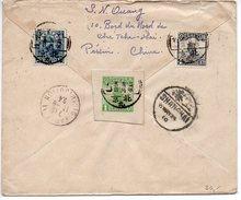 Chine : Jonque (dont Entier Postal Découpé) + Récolte Du Riz Sur Lettre Recommandée De 1924 Pour La France - China