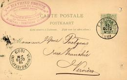 73x   Carte Postale Belgique Ensival Verviers 1889 Cachet Timbre Préimprimé - Belgique