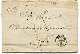 """BAS RHIN De STRASBOURG LAC ( Abimée) Du 08 /04/1863 Poids 12 Gr Taxe Manuscrite De 6 En Tête """" EMPIRE FRANCAIS"""" - 1849-1876: Classic Period"""
