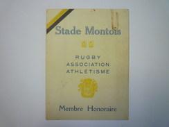 RUGBY  :  STADE MONTOIS  -  Carte De Membre Honoraire  1925 - 1926   XXX - Rugby