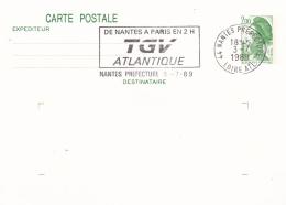 France Postal Stationary P/m Nantes 1989 TGV Atlantique   (T13-5) - Trains