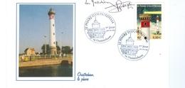 17/3   France Phare Lighthouse Ouistreham + Signature Du Dernier Gardien Du Phare - Phares