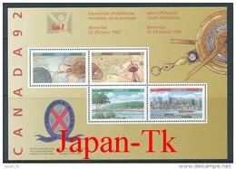 KANADA Mi. Nr. Block 8 Internationale Jugend-Briefmarkenausstel Lung CANADA '92 - MNH - Blocks & Sheetlets